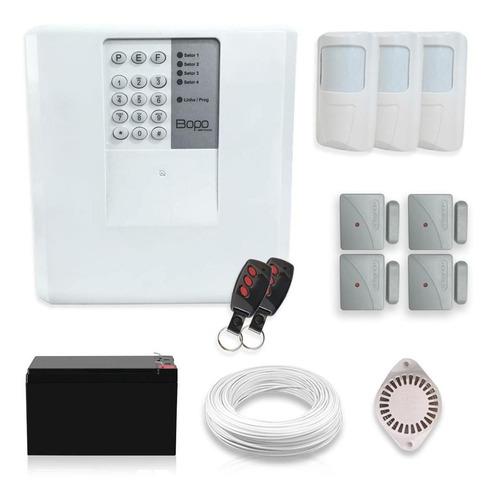 Imagem 1 de 5 de Kit Alarme Residencial Bopo 7 Sensores Discadora Bateria