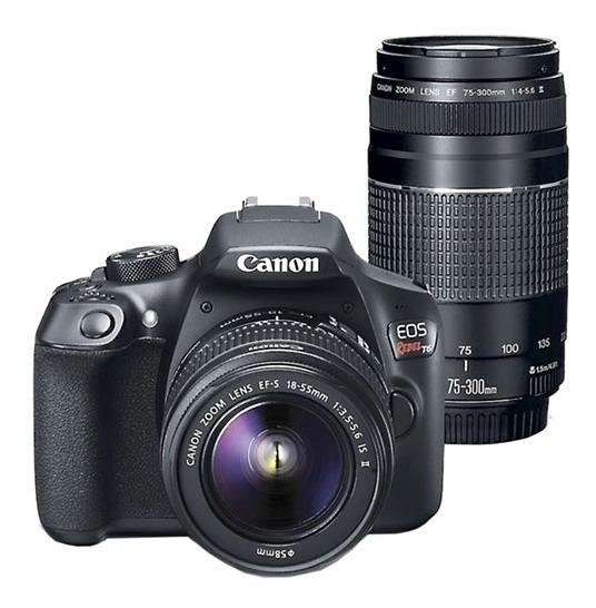 Camera Canon Eos Rebel T6 Kit 18-55 + 75-300 + Bol