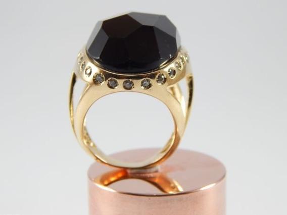 Anel Banhado A Ouro Aro 20 Pedra Cristal Fumê Natural An001