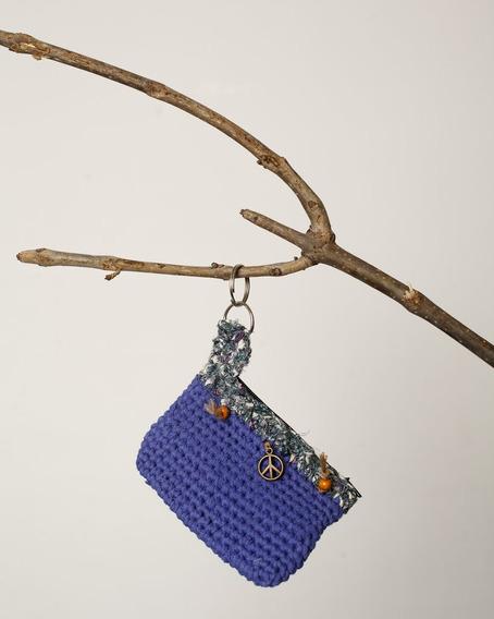 Monedero Tejido Al Crochet Paz Verde Y Violeta