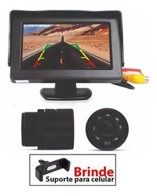 Kit Camera De Ré Com Visão Noturna Monitor De Lcd Veicular