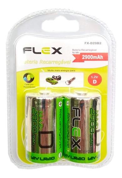 Pilha Recarregavel Tipo D Flex 2900mah Grande Lr20 Com 4 Und