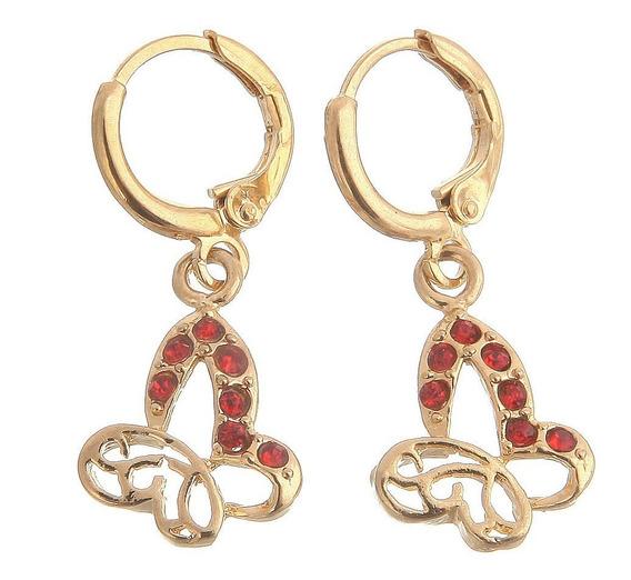 Brincos Feminino Rubi Vermelho Moda Noite Ouro14kplated 6