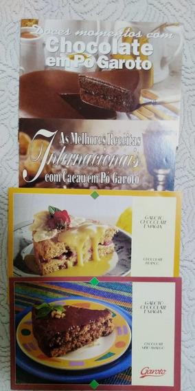 Kit 4 Livretos Antigos E Raros Receitas Chocolate Garoto