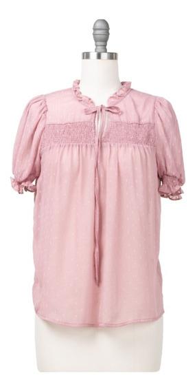 Blusa De Vestir Drapeado En Escote Con Lazo, Manga Corta.