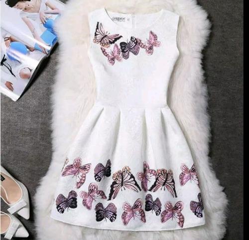 Vestido Blanco Con Mariposas Talla S Nuevo Importado
