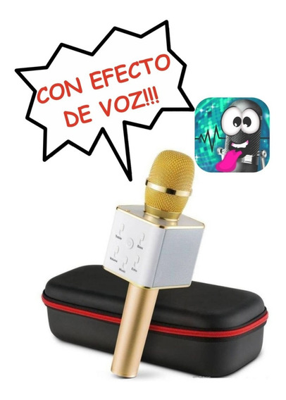 Microfono Karaoke Bluetooth Inalambrico C/ Parlante Dorado