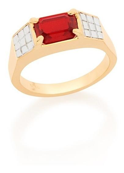 Anel De Formatura Masculino Cristal Vermelho Rommanel 512641