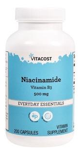 Vitamina B3 Niacinamida 500mg - 200 Cápsu Vitacost Importado