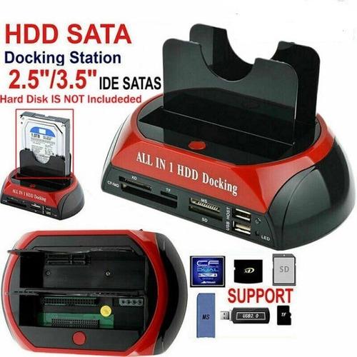 Dock Station 2 Disco Duro 2.5 3.5 Sata Ide Hub Usb Lector Sd