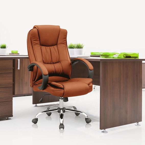 Cadeira Presidente Luxo Escritório Base Giratória Pé Cromado