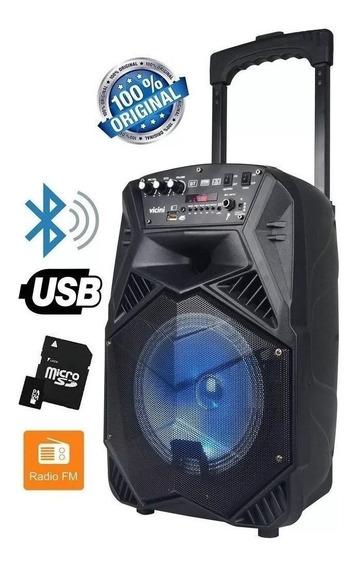 Caixa De Som Amplificada Bluetooth 100w Rms Fm Usb P2 Mic