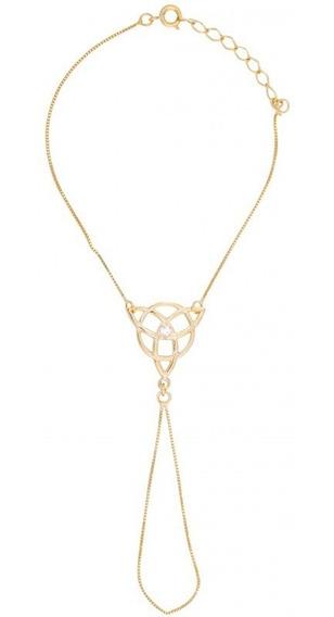 Pulseira Anel Triskle C/ Strass Dourada - Sh5651