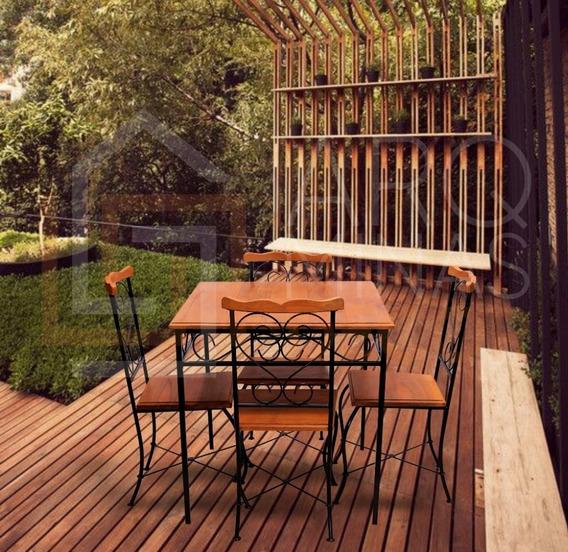 Mesa De Jantar 4 Cadeiras Com Detalhes Em Arabesco Oferta