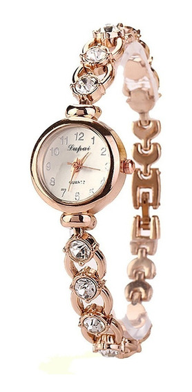 Relógio Pulso Feminino Dourado Pulseira Com Pedras Strass Ex