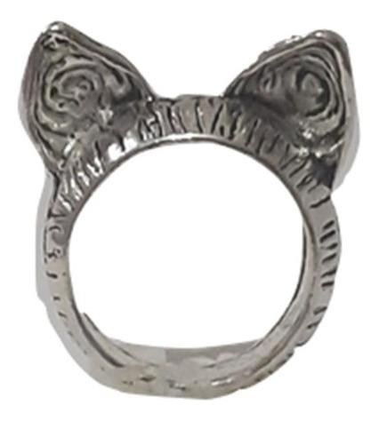 Anillo Estilo Retro Vintage Orejitas De Gato Plateado Dorado