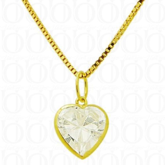 Pingente Coração Branco C/ Corrente De Ouro 18k/750 G01