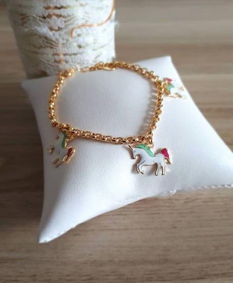 Pulseira Unicornio 25cm Banhada A Ouro