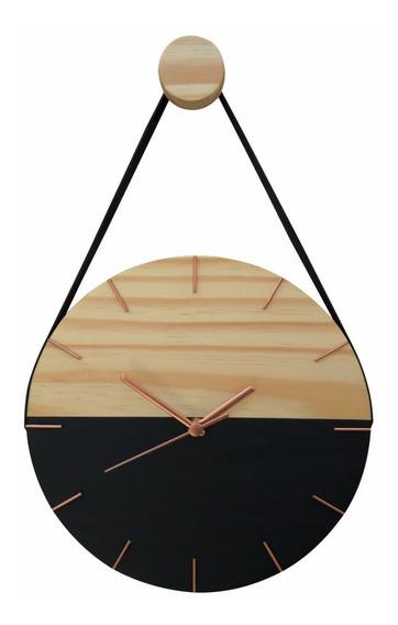 Relógio De Parede Decorativo Moderno Madeira C/ Alça Preto