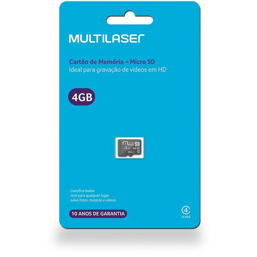 Cartão De Memória Micro Sd Multilaser Mc144 4gb Preto