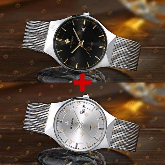 Kit 2 Relógios Wwoor Movimento Japonês Slim Super Promoção
