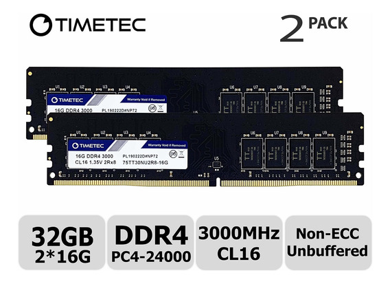 Memoria Ram 32gb Timetec Extreme Performance Hynix Ic Kit(2x16gb) Ddr4 3000mhz Pc4-24000 Cl16 1.35v Unbuffered Nonecc Pa