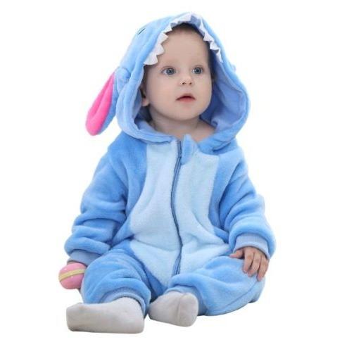 4b29373d3a62fa Macacão Bebê Pijama Bichinho Fantasia Stitch Panda Infantil