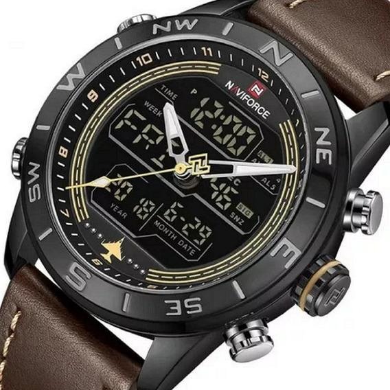 Relógio Masculino Naviforce 9144 Pulseira Couro Lançamento