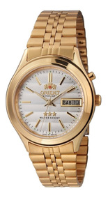 Relógio Orient Automático Dourado Masculino 21 Rubis Emo3-ao