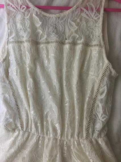 Vestido Corto Blanco De Encaje