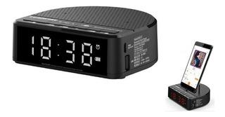 Radio Reloj Despertador Receptor Fm Bluetooth Usb Sd Aux Irt