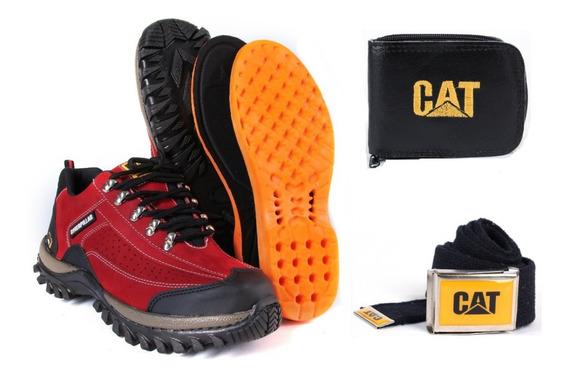 4 Pares. Promoção Tênis Caterpillar Original + Carteira + Cinto + Palmilha Gel
