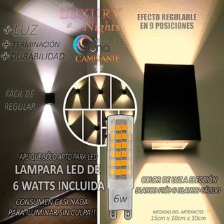 Aplique Difusor Pared Exterior Bidireccional Lampara Led 6w