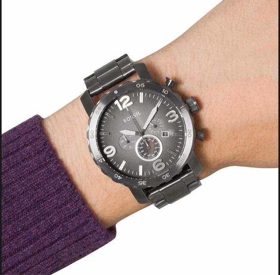 Relógio Fóssil + Pulseira Em Couro