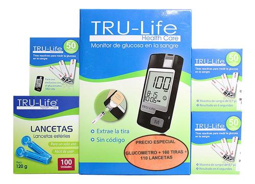 Oferta Glucometro Tru-life + 160tiras + 110 Lancetas