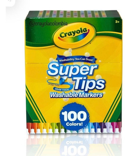 Caja 100 Marcadores Lavables Crayola Super Tips