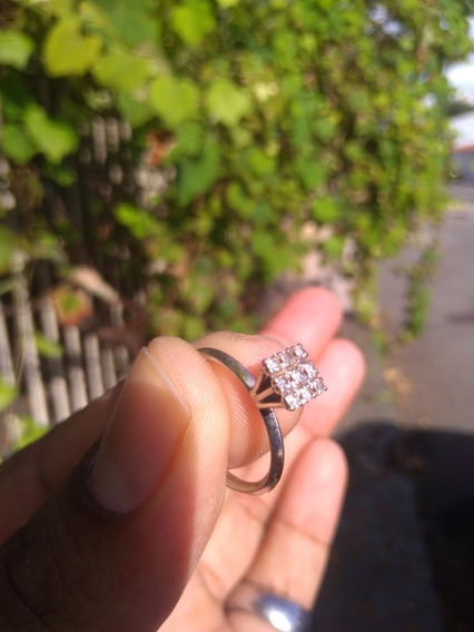 Anel Ouro Branco 18k Mod Chuveiro Com Diamantes