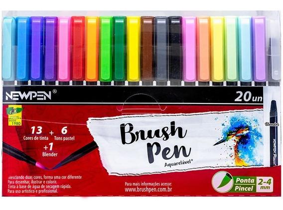 Caneta Pincel Brush Pen Aquarela Com 20 Newpen Com Blender