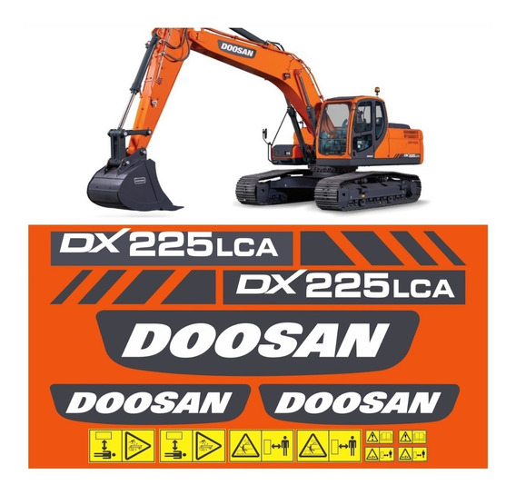 Kit Adesivo Escavadeira Doosan Dx225 Lca Dx225lca Mk