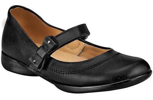 Zapato Flats Formal Negro Piel Correa Dama 98293 Udt