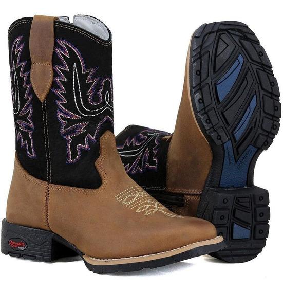 Bota Botina Country Texana Infantil Feminina Couro Promoção