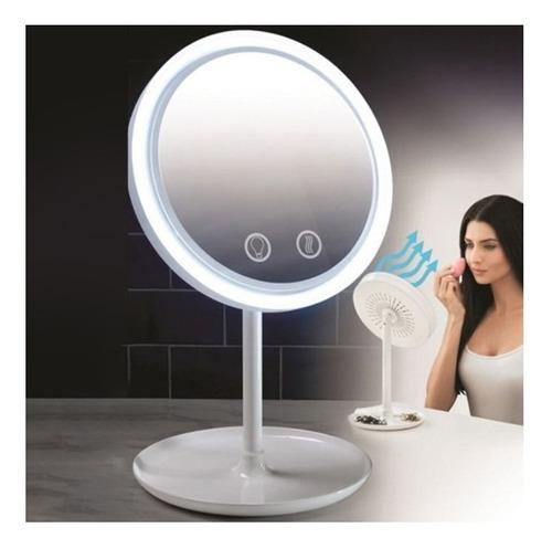 Imagen 1 de 4 de Espejo Redondo Con Luz Led Y Ventilador Interno + Aumento X5