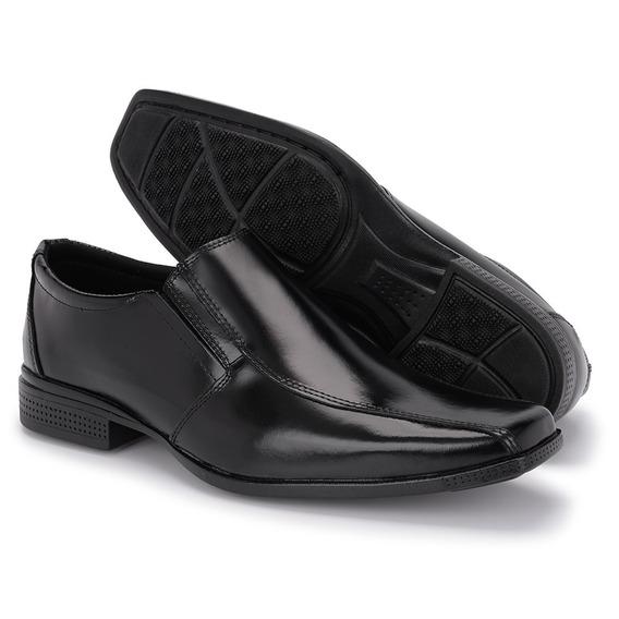 Sapato Social Masculino Preto Em Couro Bico Fino Italiano