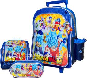 Kit Mochila Escolar De Rodinhas Dragon Ball Z Gt G 2019