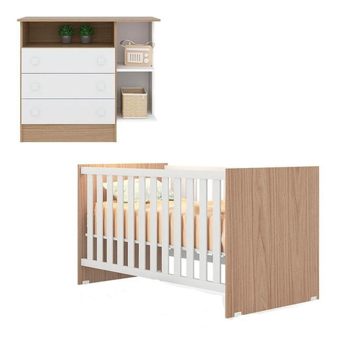 Jogo De Quarto Bebê Berço Com Cômoda 2 Peças Leartam Shop