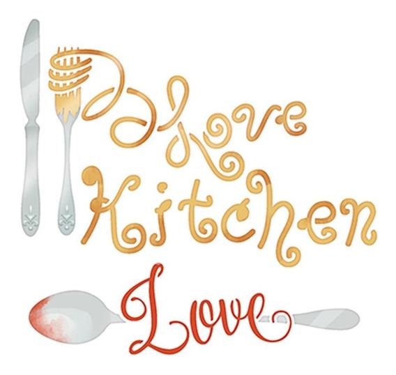 Stencil Pintura Sta-124 Love Kitchen 14x14cm Litoarte