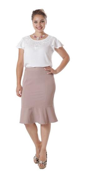 Saia Sino Midi Moda Feminina Evangélica E Plus Size 8750