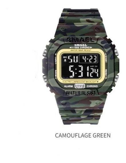 Relogio Smael Camuflado Militar Tático Prova D`água 5atm