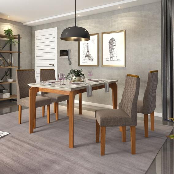 Conjunto De Mesa Para Sala De Jantar 4 Cadeiras Mesa Rouge