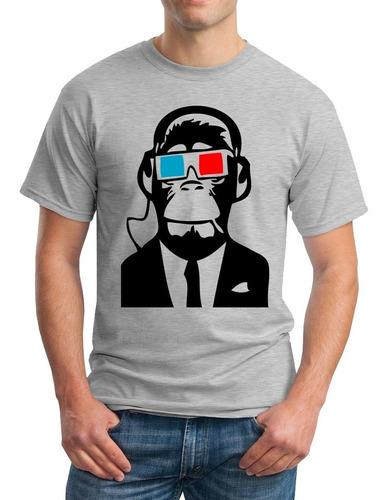 Camisetas Algodon Estampado Personalizado - Monkey Gafas 3d